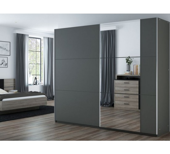 Graphite and Mirror Wardrobe
