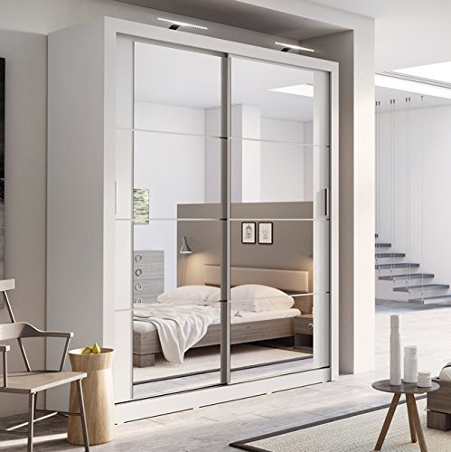 Arthauss Modern Bedroom Mirror Sliding Door Wardrobe ARTI 3 in Matt White  181cm sold: Traveller Location.uk: Kitchen & Home