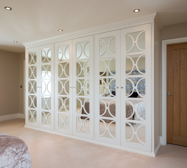 Mirrored Wardrobes with Fretwork Transitional Closet