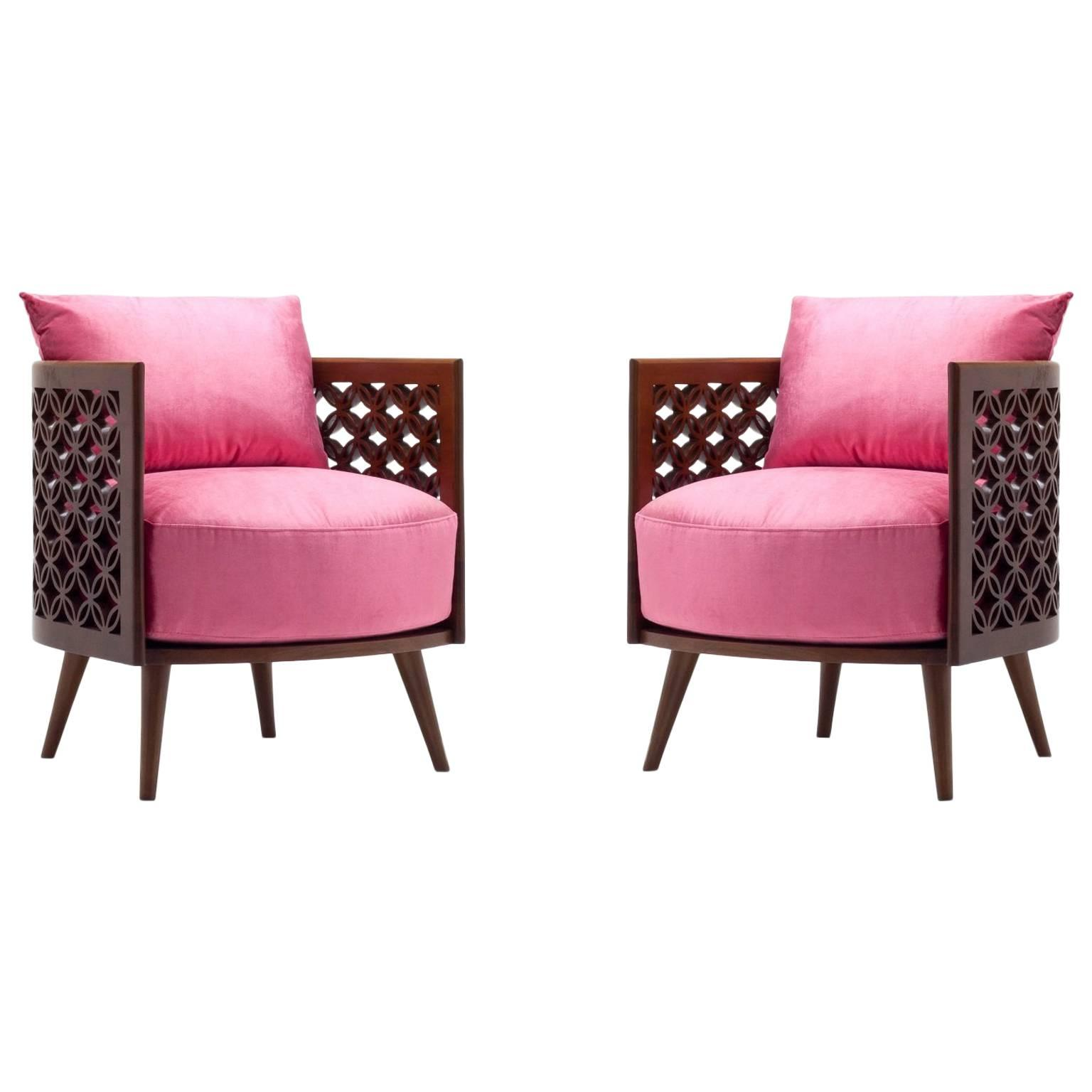 Arabesque Modern Armchairs by Nada Debs, Contemporary Armchair in Walnut  For Sale