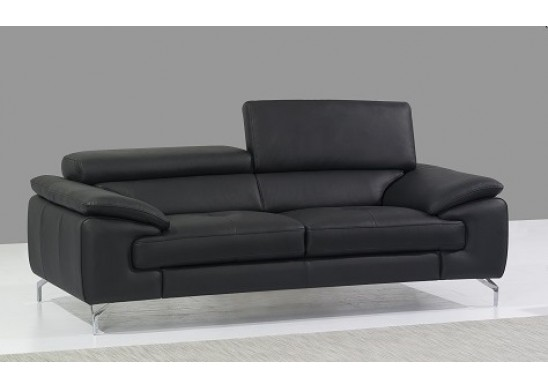 Prima Black Italian Leather Modern Sofa | Contemporary Sofa
