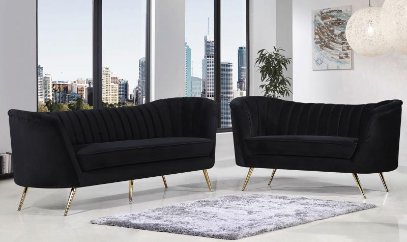 Meridian Furniture Margo Modern Black Velvet Gold Stainless Legs