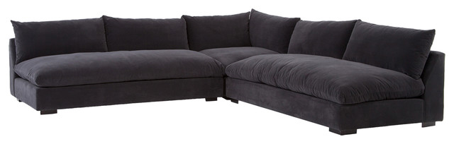 Hanz Modern Black Armless Sectional Sofa - Contemporary - Sectional