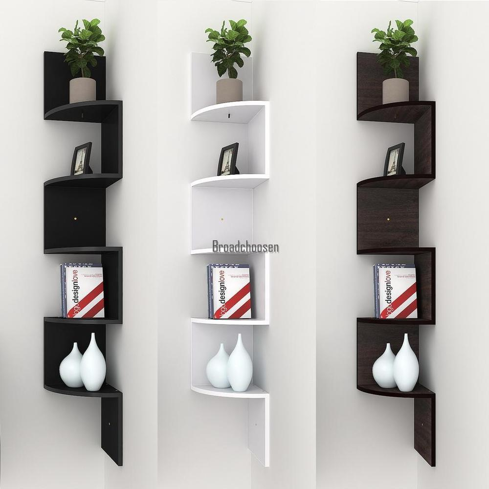 Details about Modern Corner Shelf Shelves Wall Mounted Book CD Storage  Display Home Decor New