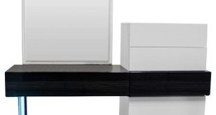 Ireland Modern White and Gray Vanity Dresser With Mirror, 2-Piece Set -  Modern - Dressers - by Furniture Import & Export Inc.