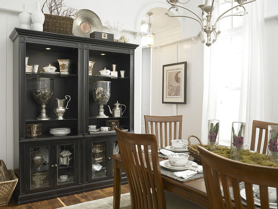 Black hutch is the showstopper in this white, eclectic kitchen [Design:  Laura Hardin