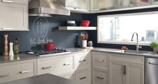 Asher gray kitchen cabinets in Maple Cirrus