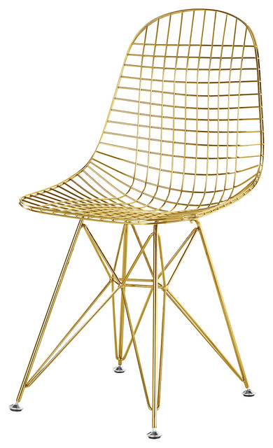 Wire Mesh Eiffel Base Side Chair in Gold Finish - Modern - Dining Chairs -  by Modern Selections