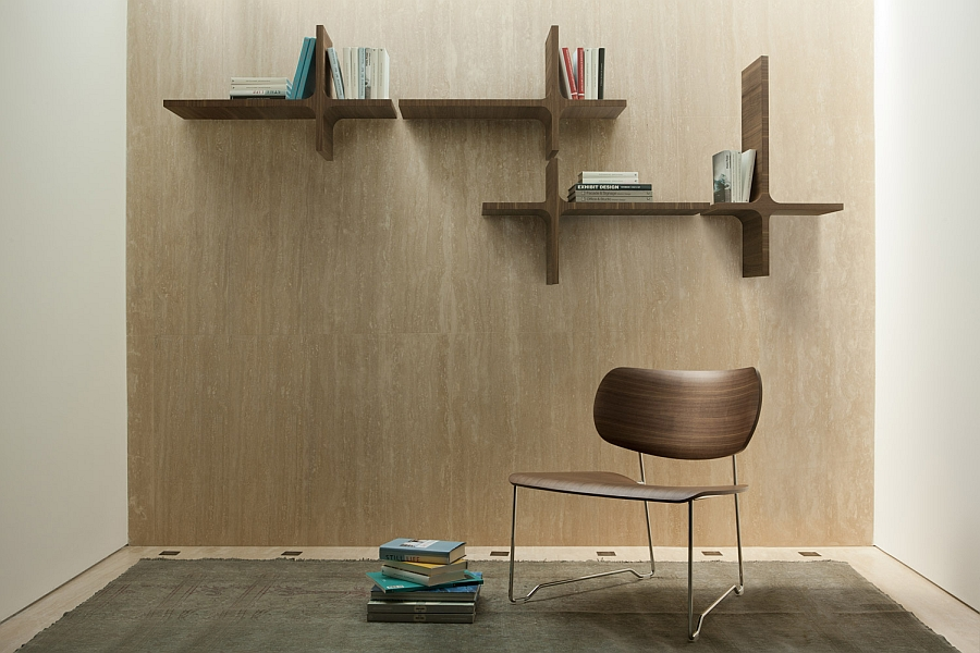 Sleek wall mounted bookshelves are ideal for the small, modern home