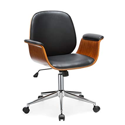 Office Chair Porthos Home Selma Office Chairs with Wheels, Curved Wooden  Armrests, Height Adjustable