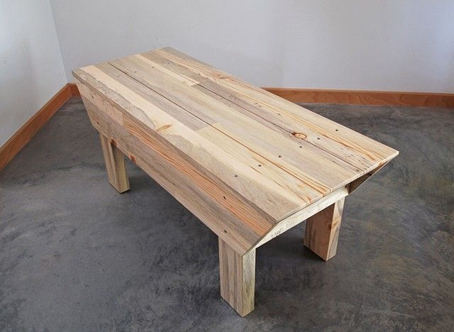 Modern beetle kill pine wood bench, handmade and designed by Andrew Traub.  Modern blue pine furniture