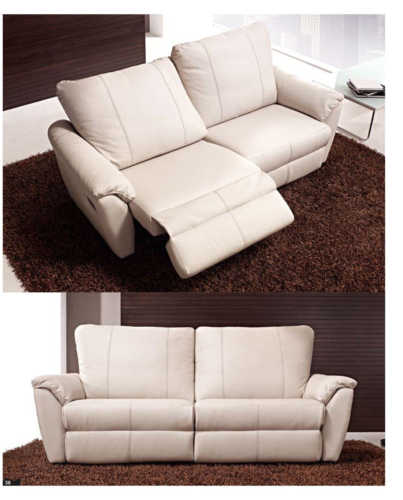 Modern Reclining Loveseat in ivory color touch with dark brown furry rug  viewing gallery