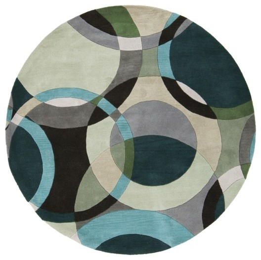 Forum Modern Circle Pattern Round Rug In Sea Foam Teal By Surya Intended  For Rugs Designs 1