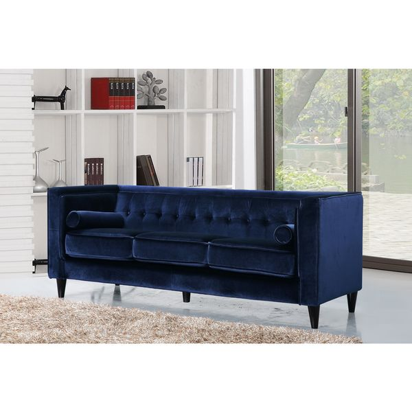 Shop Meridian Taylor Navy Tufted Modern Velvet Sofa - Free Shipping Today -  Overstock - 12046542