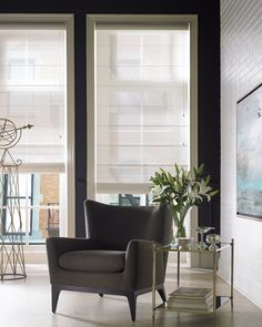 Modern Roman Blinds - sheer for privacy and to hide a bad outlook.  Decorview | Custom Window Treatments