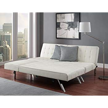 Modern Sofa Bed Sleeper Faux Leather Convertible Sofa Set Couch Bed Sleeper  Chaise Lounge Furniture Vanilla