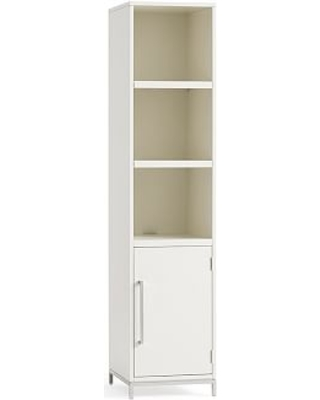 Ava Narrow Bookcase with Doors, Sky White