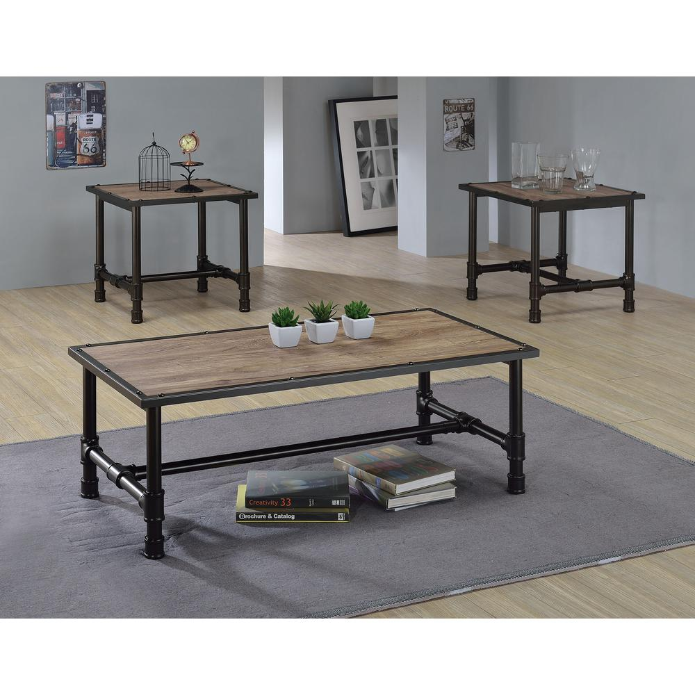 ACME Furniture Caitlin Rustic Oak Built-In Storage Coffee Table-82195 - The  Home Depot