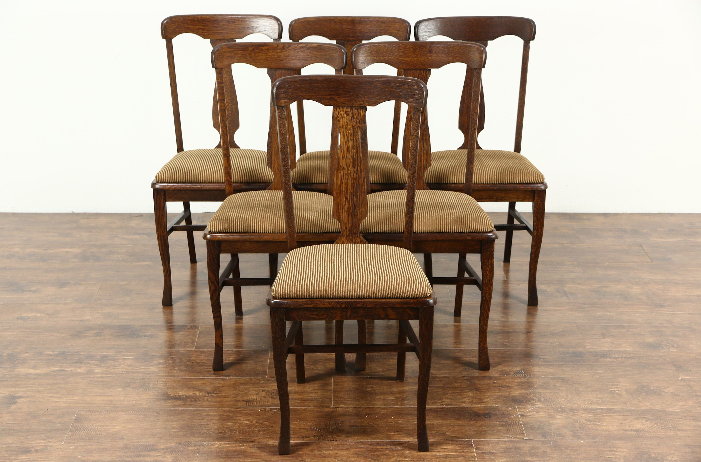 SOLD - Set of 6 Antique 1900 Quarter Sawn Oak Dining Chairs, New Upholstery  - Harp Gallery