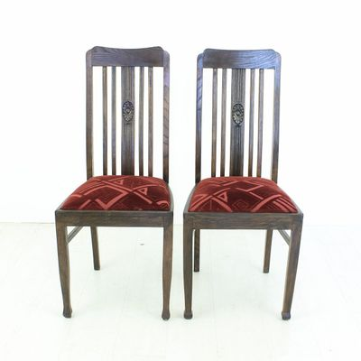 Vintage Oak Dining Chairs, 1920s, Set of 2 3