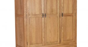 Rustic Saxon Oak 3 Door 2 Drawer Wardrobe SAX006A