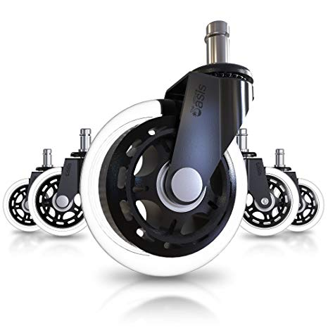 Office Chair Caster Wheels (Set of 5) - Heavy Duty & Safe for All