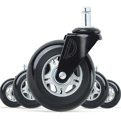 Lifelong Office Chair Casters Replacement Chair Wheels, Rollerblade Style,  Black & Grey, 5/Set (BL2375) | Staples