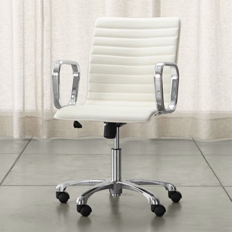 Ripple Ivory Leather Office Chair with Chrome Base + Reviews | Crate and  Barrel