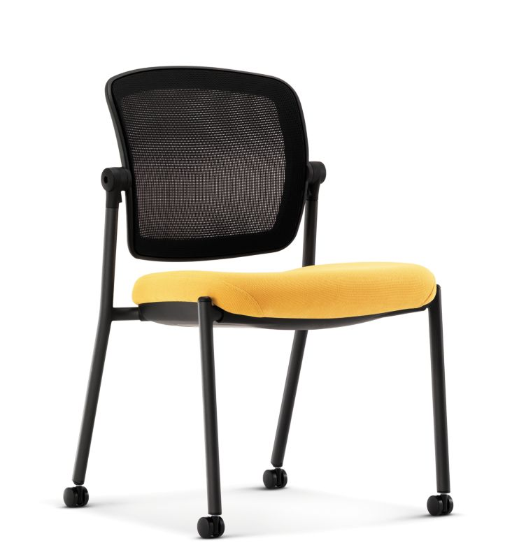 HON Ceres Multi Purpose Chair Yellow Mesh Back Armless Front Side View  HCG6.N.A.IM