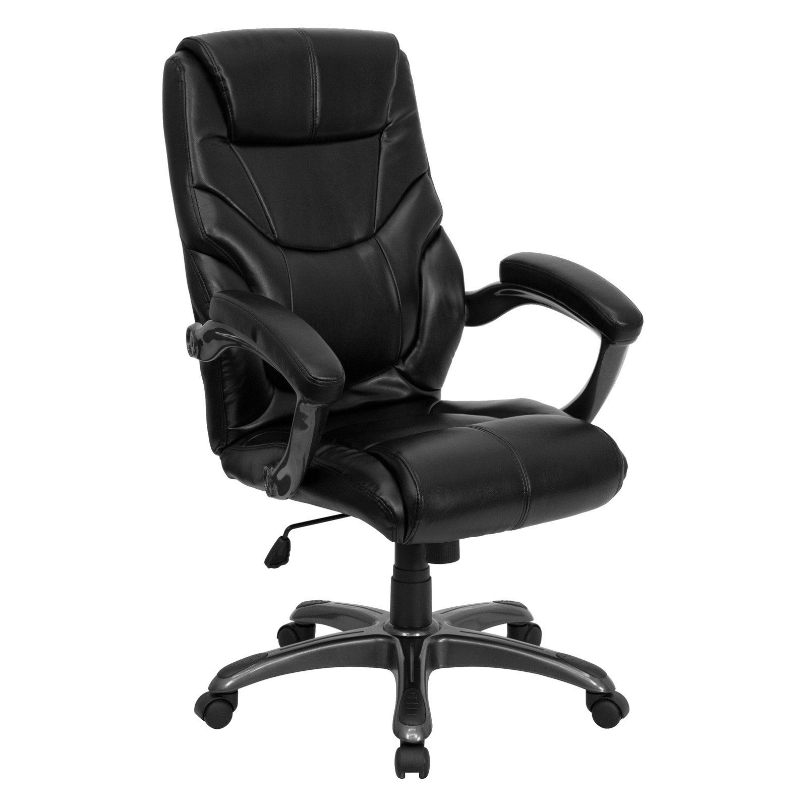 Contemporary Leather High-Back Office Chair, Black