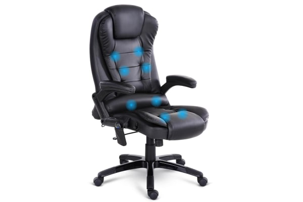 8 Point Massage Executive PU Leather Office Chair (Black) - Kogan.com