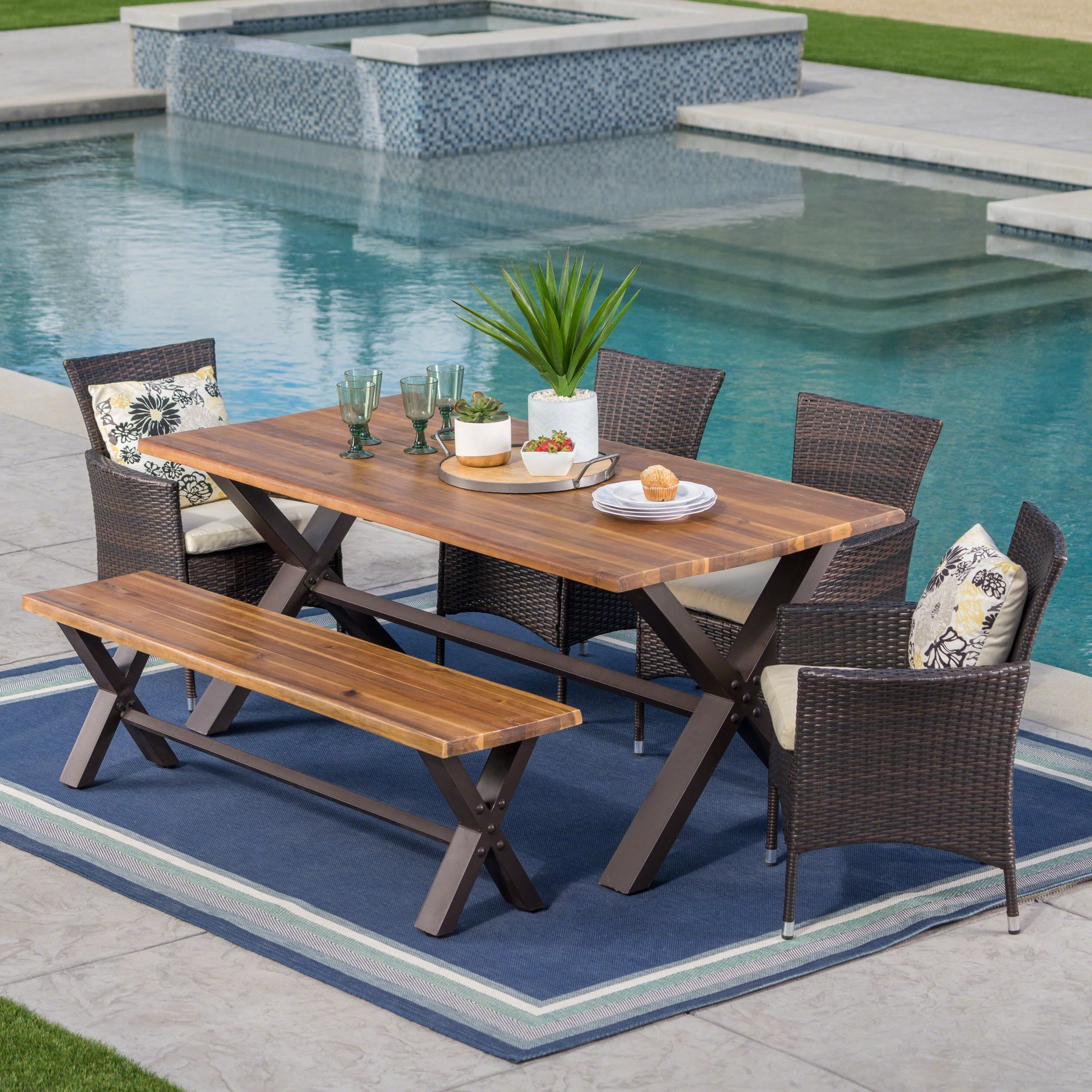Ozark Outdoor 6-Piece Rectangle Wicker Wood Dining Set with Cushions by  Christopher Knight Home