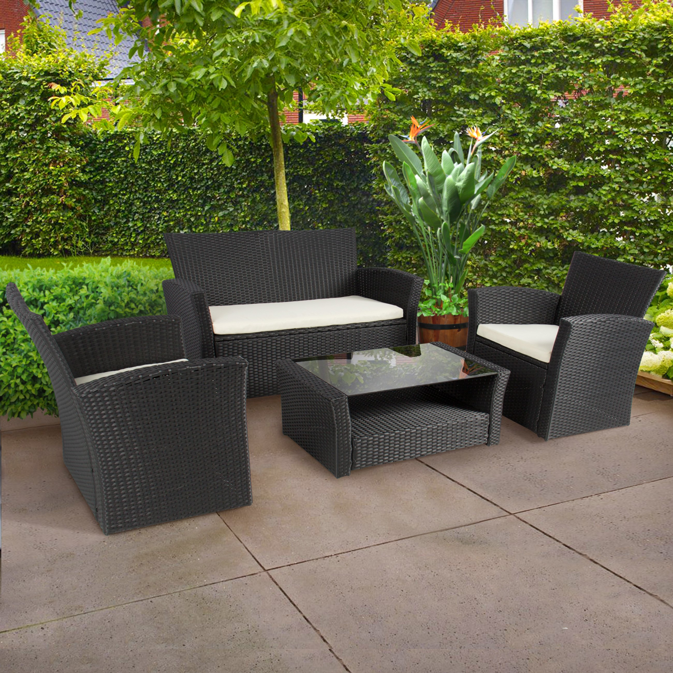 4pc Outdoor Patio Garden Furniture Wicker Rattan Sofa Set Black 0