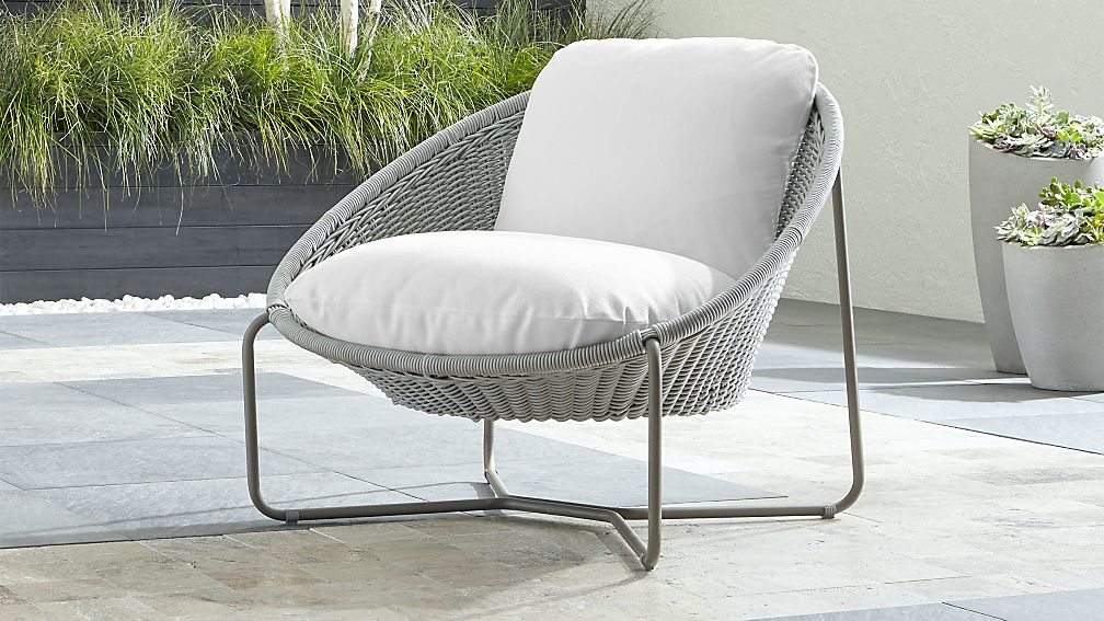 Morocco Light Grey Oval Lounge Chair with Cushion + Reviews | Crate and  Barrel