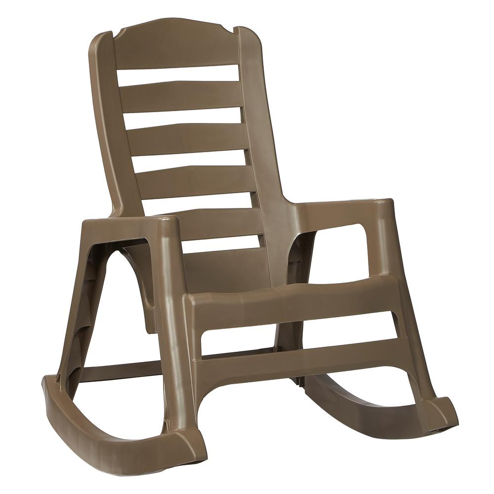Store SKU #1001836544. Big Easy Plastic Outdoor Rocking Chair Mushroom