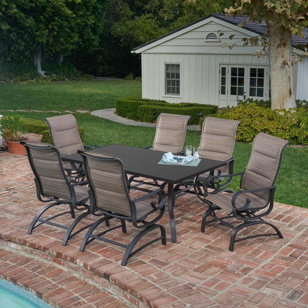 River Oak 7-Piece Metal Outdoor Dining Set with Padded Sling