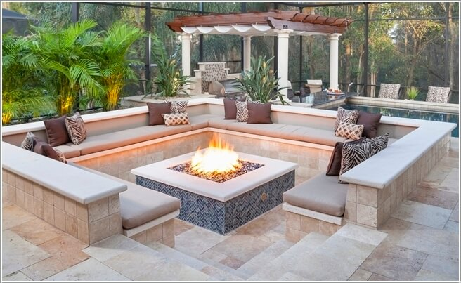A Sunken Seating Area Along Poolside