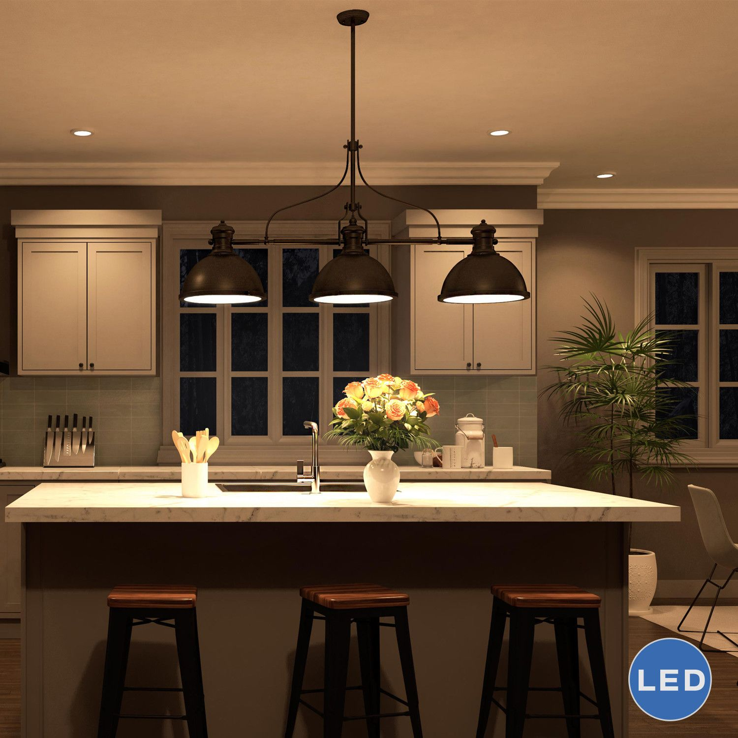 The room may receive welcoming glow thanks to big pendant lighting that  gives stair landing. Meanwhile, other items are located in one strategic  spot to