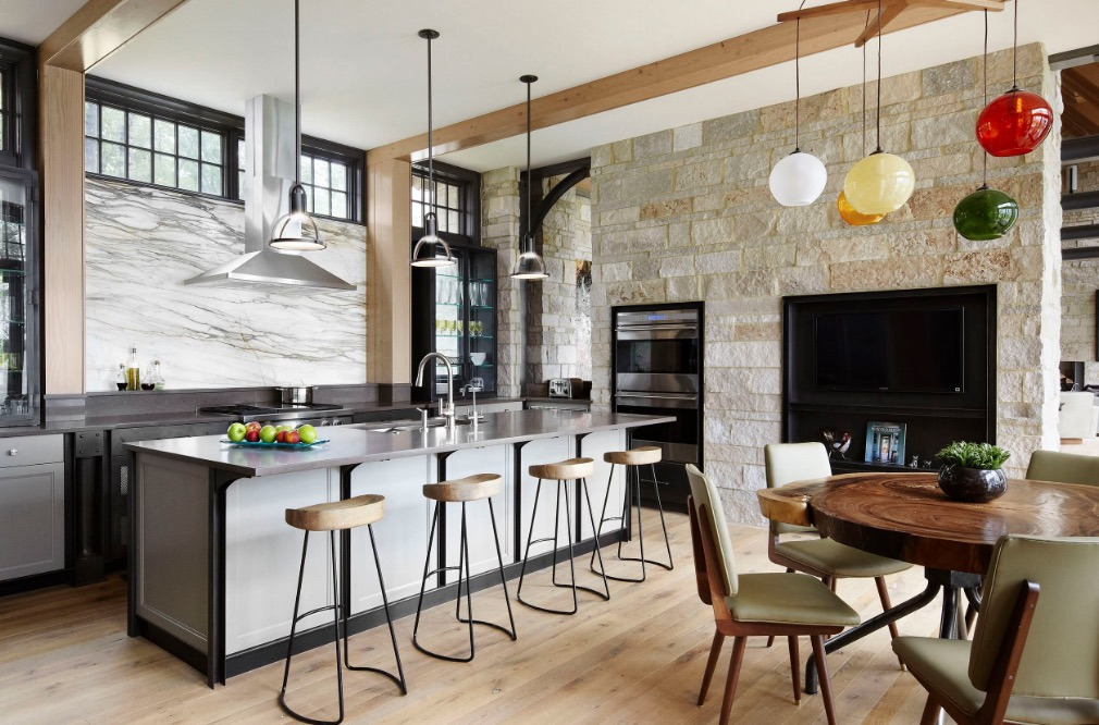 Shake up your design by using two different lighting fixtures in the same  room. Image: Morgante Wilson Architects. Collect this idea