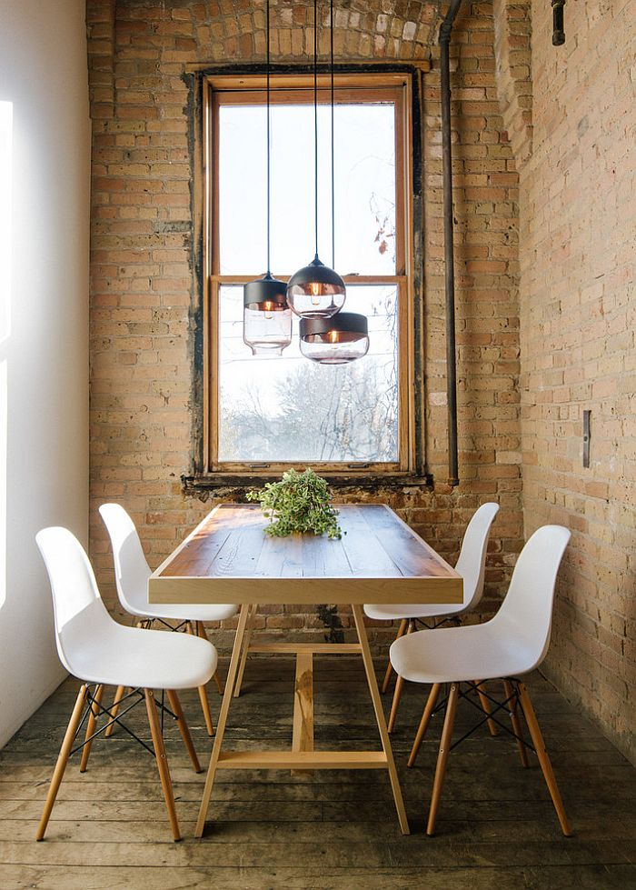 View in gallery Unique industrial pendants bring dreamy charm to the small  dining space [From: Hennepin Made