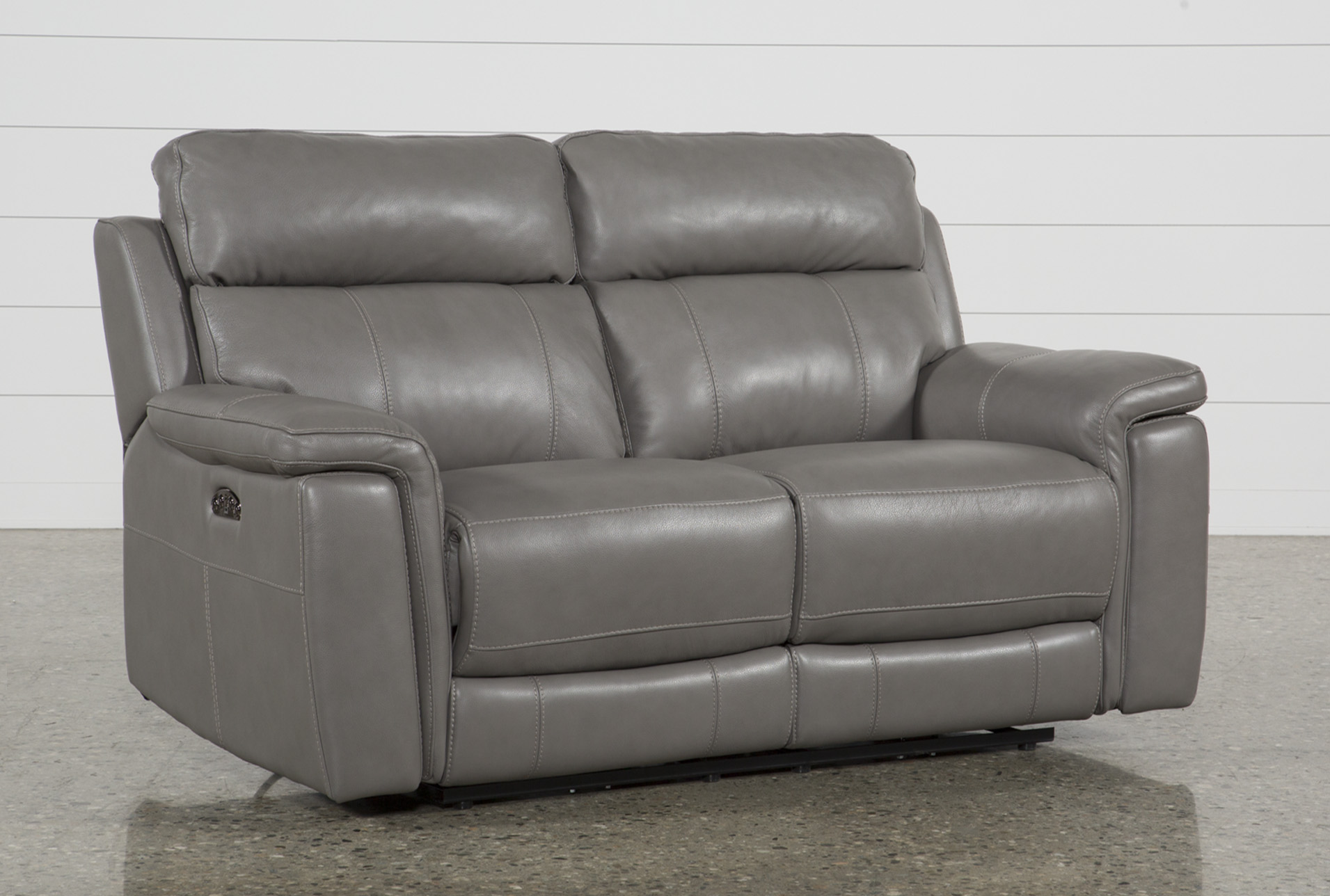 Dino Grey Leather Power Reclining Loveseat W/Power Headrest & Usb - 360