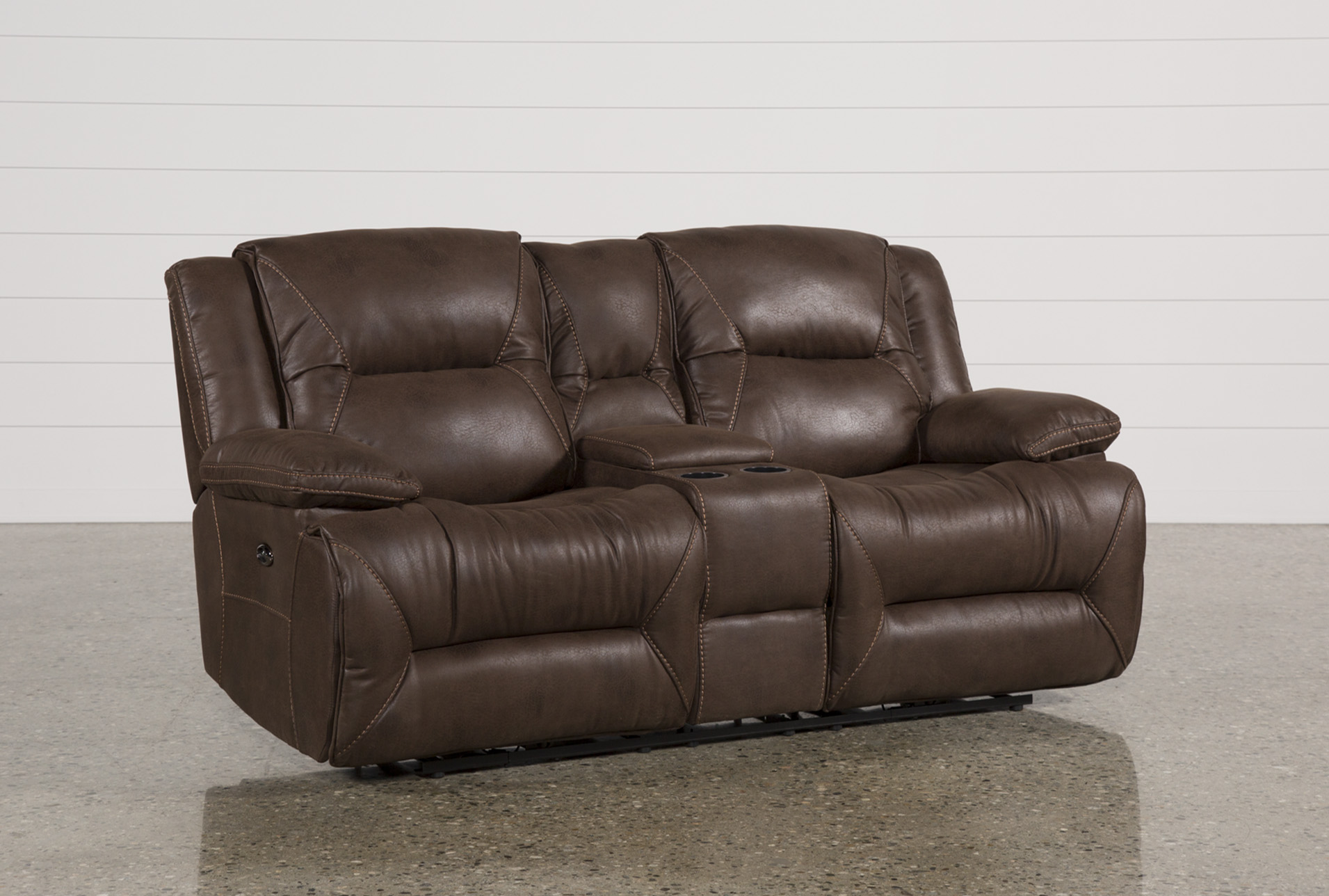 Calder Brown Power Reclining Loveseat W/Console - 360