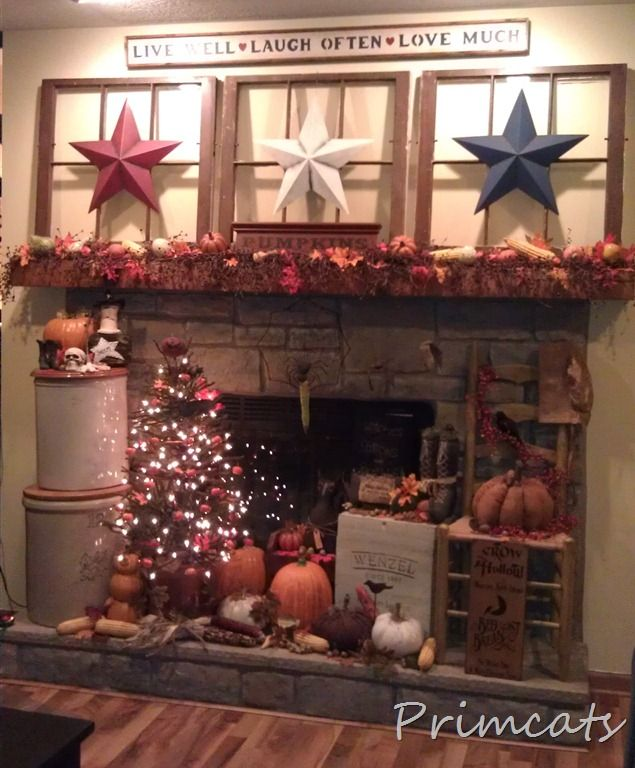 old primitive decorating ideas | Primitive Fall Decoratingwith old  windows, fall tree & barn stars .