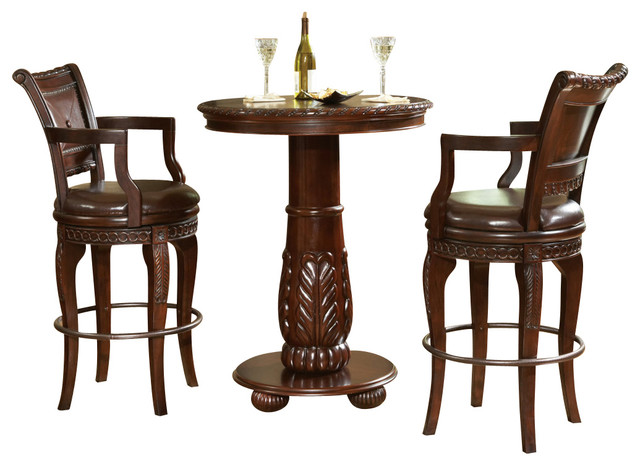 Steve Silver Antoinette 3-Piece Pub Table Set - Traditional - Indoor Pub  And Bistro Sets - by Beyond Stores