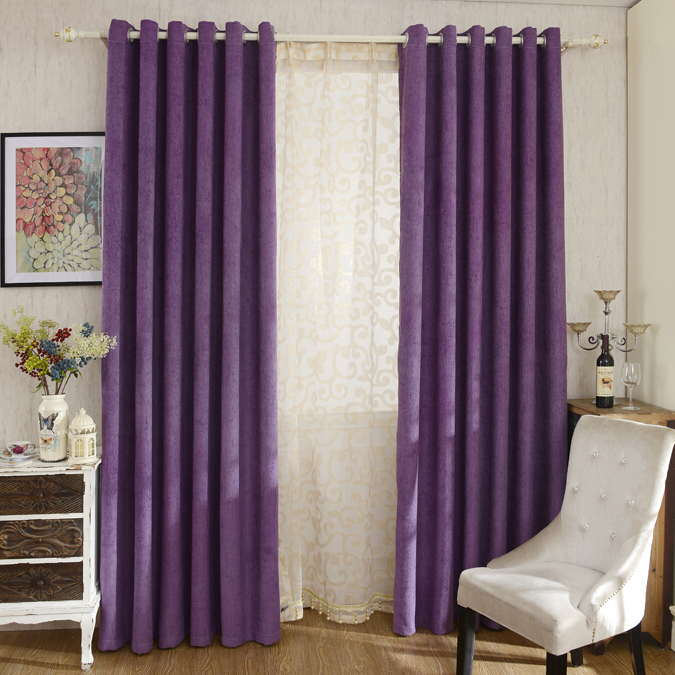 Thick Chenille Fabric Romantic Purple Blackout and Insulated Bedroom  Curtains