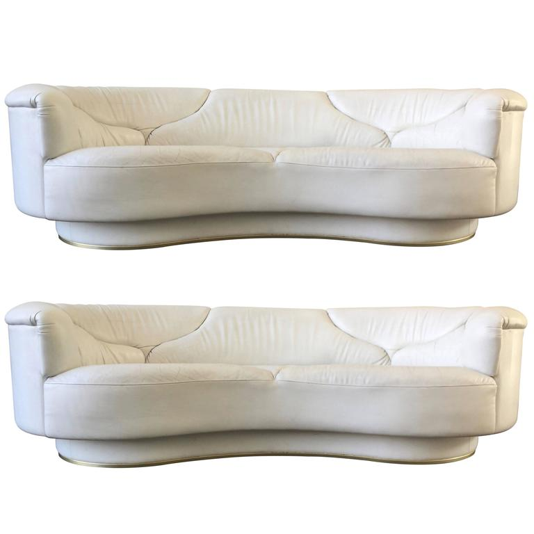 High Quality Sofas in White Leather, De Sede, Milo Baughman For Sale