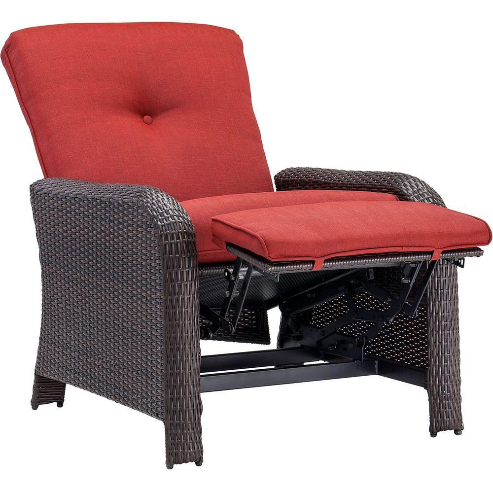 Strathmere Crimson Red Outdoor Reclining Patio Arm Chair