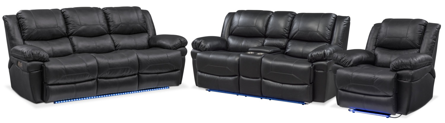 Monza Dual Power Reclining Sofa, Reclining Loveseat and Recliner Set