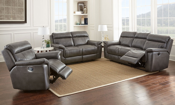 Dakota 3-Piece Gray Reclining Living Room with Gel Memory Foam including  sofa, loveseat