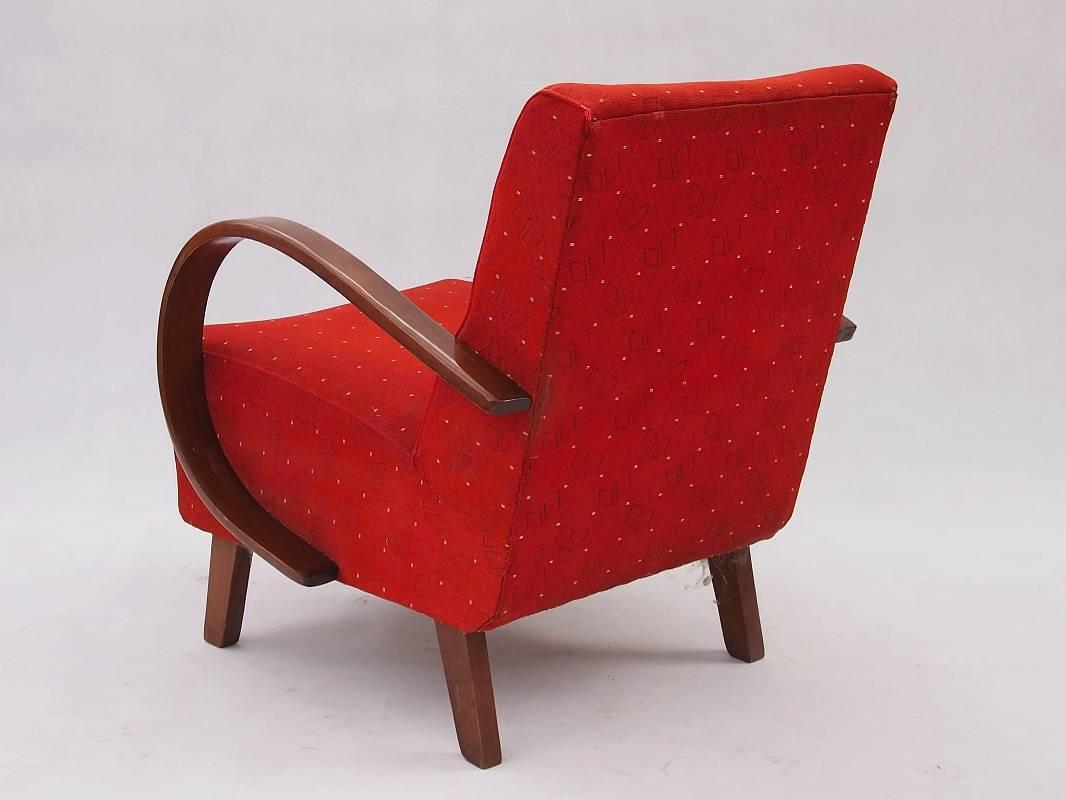 Red Armchair by Jindrich Halabala for UP Zavody, 1930s For Sale at 1stdibs